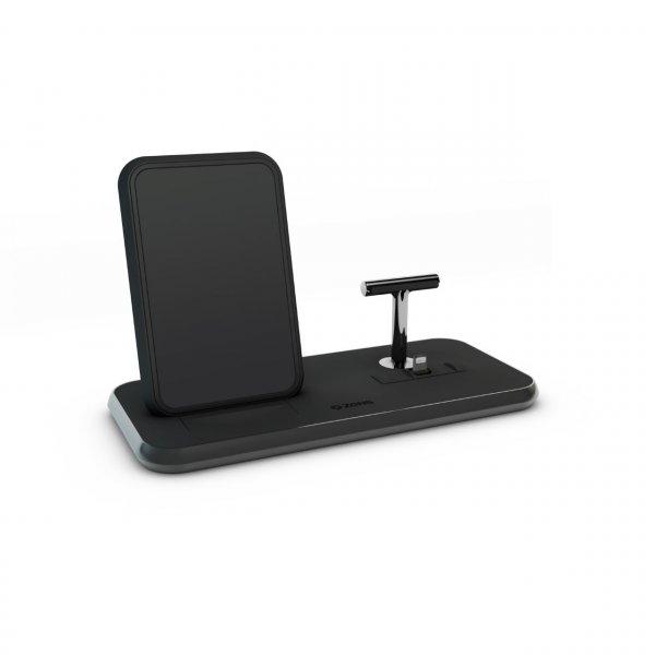 Zens Aluminium Stand + Dock, 10W Qi Charger, Schwarz