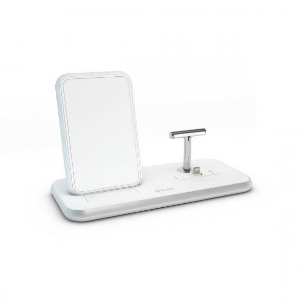 Zens Aluminium Stand + Dock, 10W Qi Charger, Weiß
